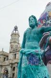Valencia, Spanien, am 18. März 2019 Fallas-Festival von Valencia Papermache-Skulpturen werden konstruiert und gebrannt dann lizenzfreies stockfoto