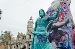 Valencia, Spanien, am 18. März 2019 Fallas-Festival von Valencia Papermache-Skulpturen werden konstruiert und gebrannt dann stockfotografie