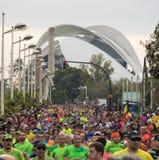 VALENCIA SPANIEN - NOVEMBER 20, 2016: Flera löpare som kör maraton Fotografering för Bildbyråer