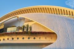 Valencia Spanien, 06-14-2019 Solnedgång på museet av konster och vetenskaper av ValenciaValencia, Spanien, 06-14-2019 Solnedg royaltyfri foto