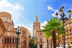 Valencia. Square of Saint Mary's and Valencia Cathedral Temple in old town.Spain , Catalonia