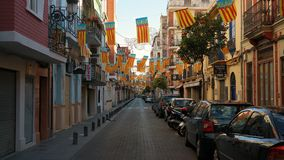 Valencia street. A street with Valencia flags can be seen throughout the city during Las Fallas Festival Stock Images