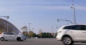 Valencia sun light day time traffic street near opera house 4k spain. Europe stock video footage