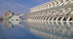 Valencia sunny day light city of art fountain waves 4k spain. Europe stock video footage