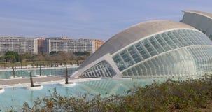Valencia sunny day light science museum city of art 4k spain stock video