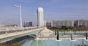 Valencia sunny day light traffic bridge near city of art 4k spain stock footage