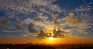 Valencia sunriuse skyline from Paterna. And Manises area in spain stock images