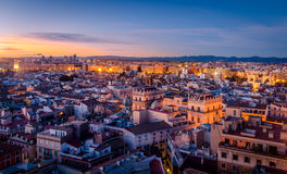 Valencia. Sunset in the Historic Center of Valencia Stock Images
