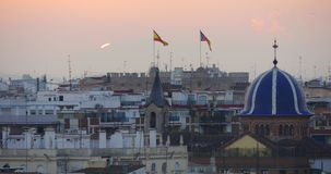 Valencia sunset panorama roof tops view 4k spain. Spain valencia sunset panorama roof tops view 4k stock video