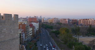 Valencia sunset traffic street city panorama 4k spain stock video