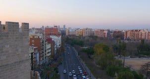 Valencia sunset traffic street city panorama 4k spain. Valencia city sunset traffic street city panorama 4k spain stock video