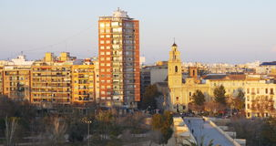 Valencia sunset view on living block 4k spain. Spain valencia sunset view on living block 4k stock footage