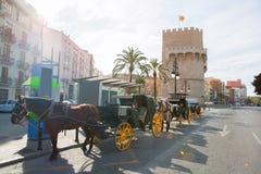 Valencia Torres de Serrano towers in Spain Royalty Free Stock Photo
