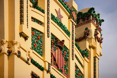Valencia train station tower detail. Xativa street in Spain stock image