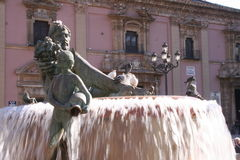 Valencia, Triton-Brunnen Lizenzfreie Stockbilder