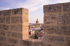 Valencia. View of downtown Valencia through the battlements of Serrano towers Stock Photo