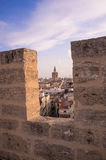Valencia. View of downtown Valencia through the battlements of Serrano towers Stock Images
