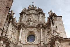 Valencia, voorgevel van de Kathedraalkerk Stock Foto