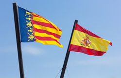Valencian Community and Spanish Flags Stock Photography