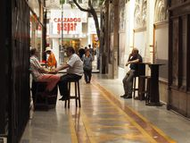 Valencian moods. This is a tapas bar in valencia city center stock photo