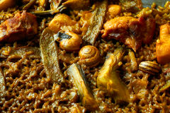 Valencian Paella with chicken and rabbit Stock Photos