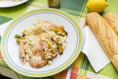 Valencian paella. Cooked seafood and rice Stock Images
