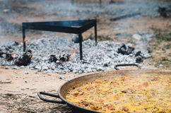 Valencian Paella. Original Valencian Paella wood-fired Stock Photography