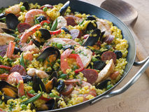 Valencian Paella in a Paella Pan.  Royalty Free Stock Image