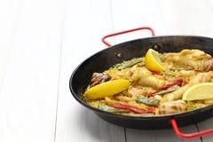 Valencian paella, spanish cuisine Royalty Free Stock Photos
