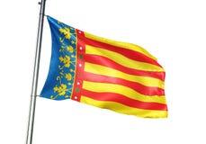Valencian społeczność Hiszpania flagi falowanie odizolowywający na białego tła realistycznej 3d ilustracji ilustracji