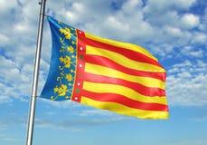 Valencian społeczność Hiszpania flagi falowanie z niebem na tło realistycznej 3d ilustracji ilustracja wektor