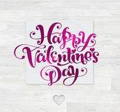 Valenine`s Day Card White Wood Decor royalty free illustration