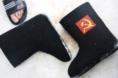 Valenki op de sneeuw in de winter het zwemmen Stock Afbeelding