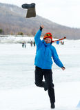Valenok throwing at Baikal Fishing 2012 Stock Photography