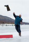 Valenok throwing at Baikal Fishing 2012 Royalty Free Stock Images