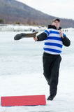Valenok throwing at Baikal Fishing 2012 Stock Photos