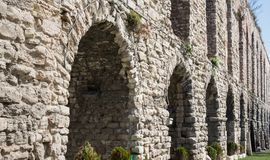 Valens Aqueduct in Istanbul, side view Royalty Free Stock Photos