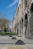 Valens Aqueduct in Istanbul, side view with road Royalty Free Stock Images