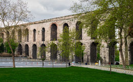 Valens Aqueduct a Roman aqueduct which was the major water providing system of the Eastern Roman capital of Constantinople. Istanbul, Turkey - April 21, 2017 Royalty Free Stock Photography