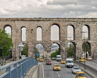 Valens Aqueduct a Roman aqueduct which was the major water providing system of the Eastern Roman capital of Constantinople. Istanbul, Turkey - April 21, 2017 Stock Photography