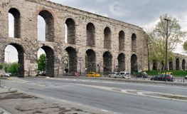 Valens Aqueduct, Roman aqueduct, was the major water providing system of the Eastern Roman capital of Constantinople Istanbul. Istanbul, Turkey - April 21, 2017 Stock Photo