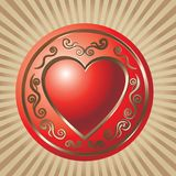 Valentain Day. Beautiful red decorative valentine heart stock illustration