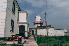 Valentia Lighthouse op Cromwell-Punt, een havenlicht om schepen van het overzees te leiden en hen te leiden door de noordelijke i Stock Fotografie