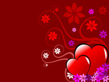 Valenties Hearts and Flowers Stock Photography