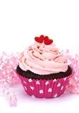 Valentijnskaart Cupcake Stock Afbeelding