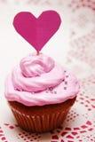 Valentijnskaart cupcake Royalty-vrije Stock Afbeeldingen