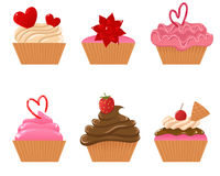 Valentijnskaart cupcakes Royalty-vrije Illustratie