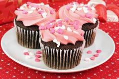 Valentijnskaart Cupcakes Royalty-vrije Stock Foto's