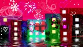 Valentijnskaart in de stad Stock Fotografie