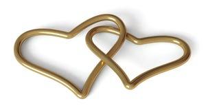 Valentijnskaart: gouden harten Stock Afbeeldingen